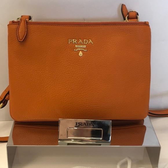 d0b0be03e580 Prada Women s Small Orange Papaya Vitello Leather